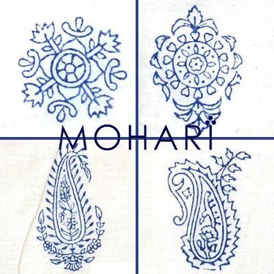 Hand block printed fabric motif designs