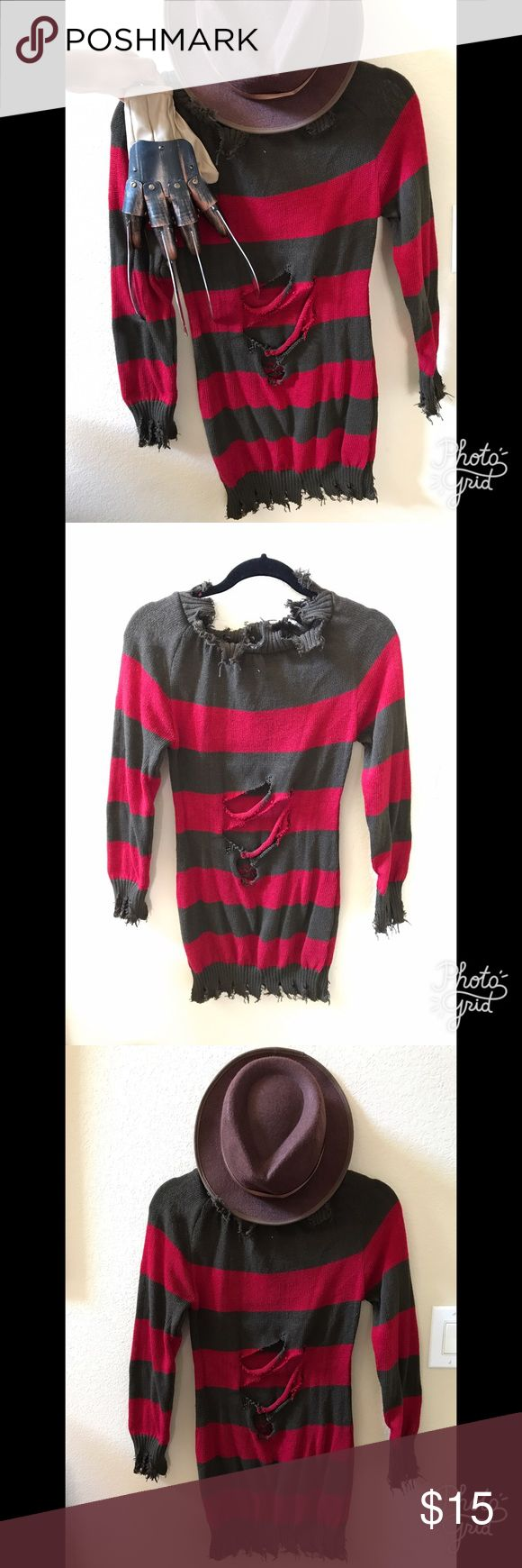 Freddy Krueger women's Halloween costume Sweater-dress style. Light-weight sweater material. Worn once 4 years ago. Practically new. Shows stomach area when wearing it. Size small. Comes with hat and glove. Dresses Long Sleeve