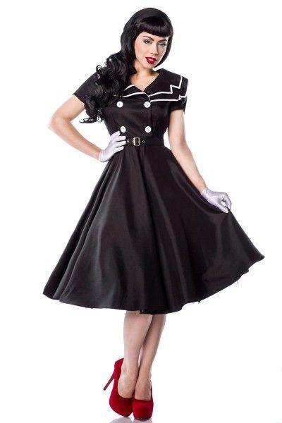 Meerweibchen.de Rockabilly-Kleid  - sehr hochwertiges Satin-Kleid im Rockabilly-Stil - hochwertig verarbeitet - mit Matrosen-Kragen im Fifties-Style - seitlicher Reißverschluss - doppelreihige Knopfleiste vorn - ein Petticoat sorgt für den perfekten Retro-Look (12147) - Rückenlänge in Größe S ca. 94 cm