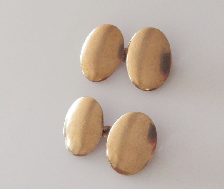 Heavy 9ct Rose Gold Mens Oval Plain Cufflinks Dated 1942 by Britishgoldandsilver on Etsy