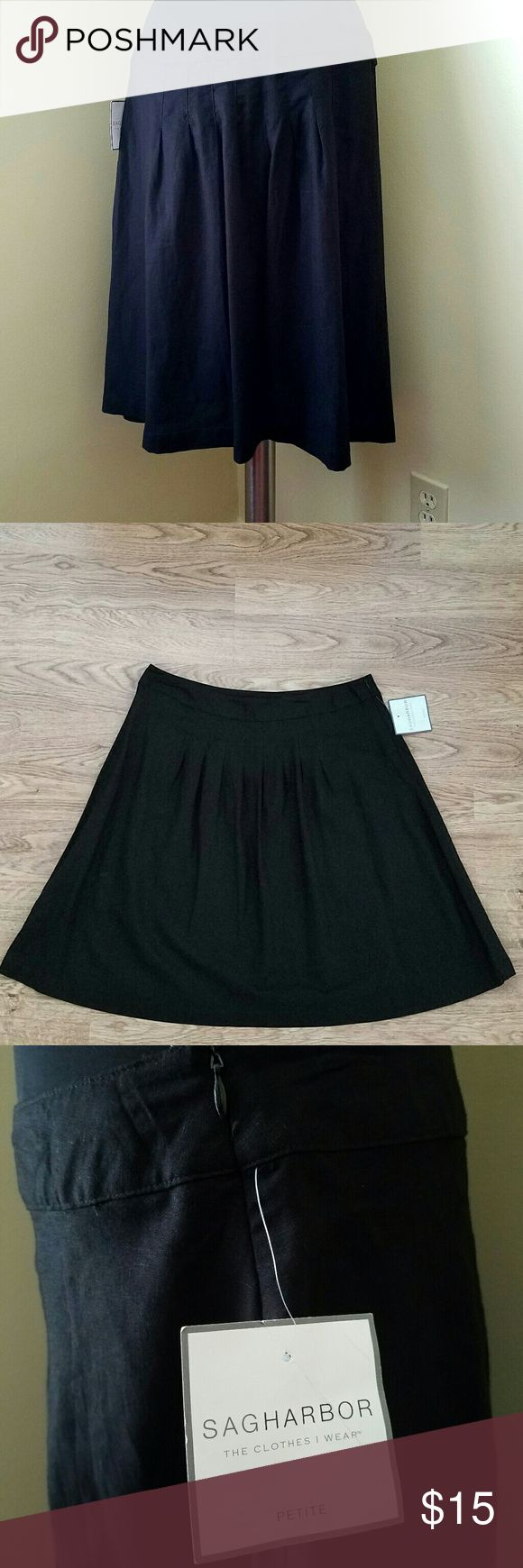 """NWT Linen & Rayon Pleated Skirt,16P NWT Sag Harbor black pleated midi skirt, 52% linen, 48% rayon. 35"""" waist, 23"""" length, size 16 Petite by Sag Harbor Sag Harbor Skirts Mini"""