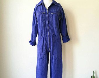 Vintage long sleeve  washed navy cotton work coverall jumpsuit small