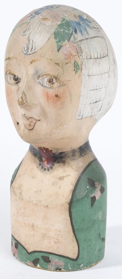 "MILLINERS PAPER MACHE HEAD  French, 19th Century. Original polychrome paint. Some loss of paint. 14 1/2"" high."