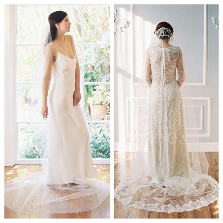 Cathedral tulle veil and Cathedral lace veil,both by Erica Elizabeth. Photo credit: Caroline Tran.