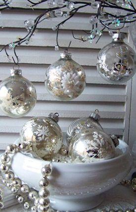 Brocante kerstversiering - silver christmas decorations