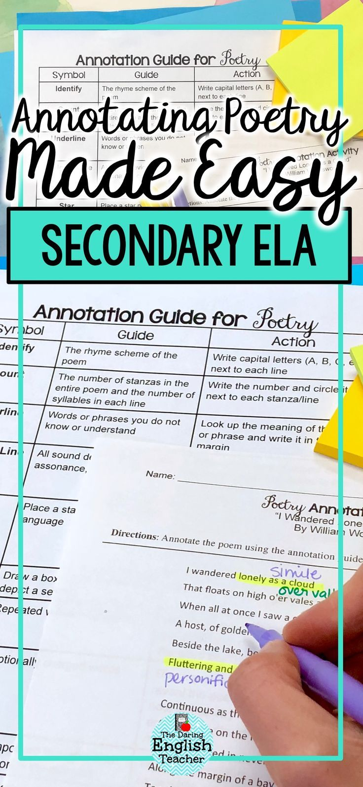 Teach poetry with ease with this annotating poetry made