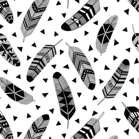 Spoonflower's Feathers in Black and White fabric designed by Kimsa - printed on a variety of cotton fabrics - by the yard by Spoonflower on Etsy https://www.etsy.com/listing/280543456/spoonflowers-feathers-in-black-and-white