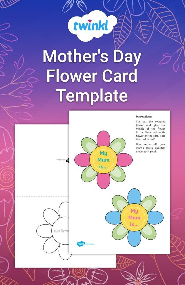 Mother S Day Flower Card Template Flower Cards Mother Day Message Card Template