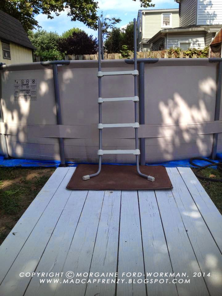 Madcap Frenzy's old picnic table mini deck for above ground pool