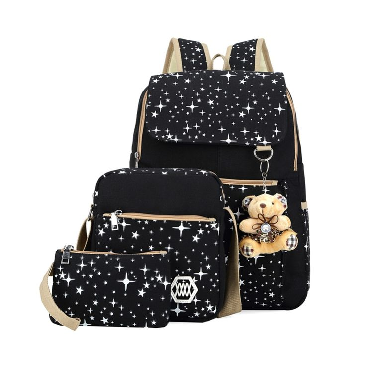 3pcs/set Women Canvas Backpack Korean Back Pack Schoolbag backpack for Teenage Girls Travel Rucksack Mochila Escolar Feminina