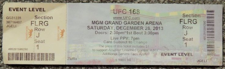 UFC ULTIMATE FIGHTING UFC 168  ORIGINAL USED TICKET MGM LAS VEGAS, DEC 28 2013 #UFC168