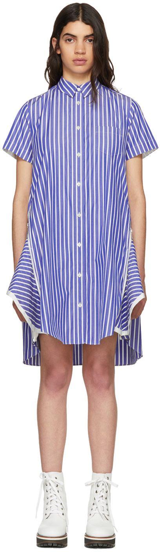 Sacai - Blue & White Striped Poplin Dress