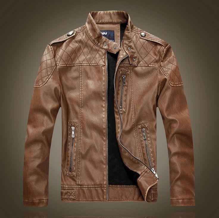 Men's Genuine Lambskin Leather Jacket Black Slim fit Biker Motorcycle jacket US $28.99