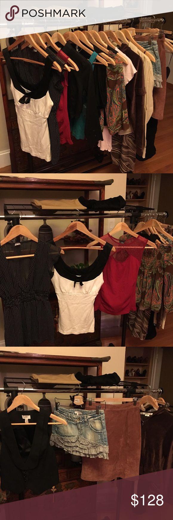 17 pc Resale Bundle lot Armani bebe top skirts XS Banana Republic button blouse, S; Armani Collezioni Capri pants, semi bell hem, runs like 0;  NWOT Xoxo pants, 1/2; Love 21 dress S/P; NWT Free People button blouse, 0; NWT Free People cowl neck top, S; Max Studio sweat jacket, S; GIII leather skirt, 5/6; NWOT Bebe white/black top, XS; jeans skirt, 6; Express black tube dress, S; R Jeans floral top, S; Soho girls red top; NWOT Ann Taylor tuxedo vest, S; Twentieth Weenie ruffle blouse…