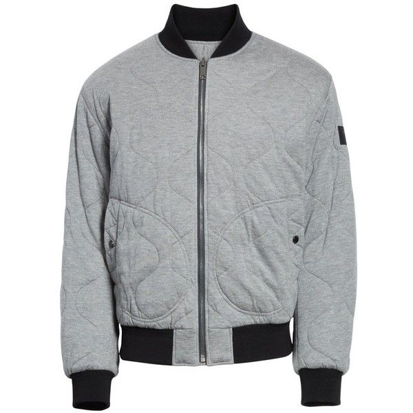 Men's Burberry Campton Reversible Quilted Jersey Bomber Jacket ($795) ❤ liked on Polyvore featuring men's fashion, men's clothing, men's outerwear, men's jackets, mid grey melange, mens jerseys, mens grey bomber jacket, mens grey quilted jacket, mens quilted bomber jacket and mens bomber jacket