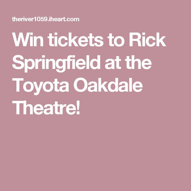 Win tickets to Rick Springfield at the Toyota Oakdale Theatre!