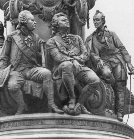 Князь Потемкин и Суворов. Фрагмент памятника императрице Екатерине II.