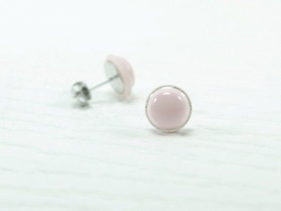 Pastel Pink Stud Earrings 10mm  Pale Pink Earrings  by biesge, $14.90