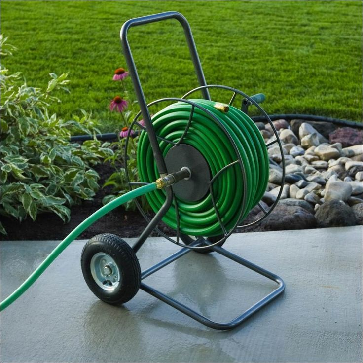 Ideas, Contemporary Garden With Modern Appliances Such Stylish Garden Reels With Wheel Base 012: Garden Hose Storages: Useful at Once Really...