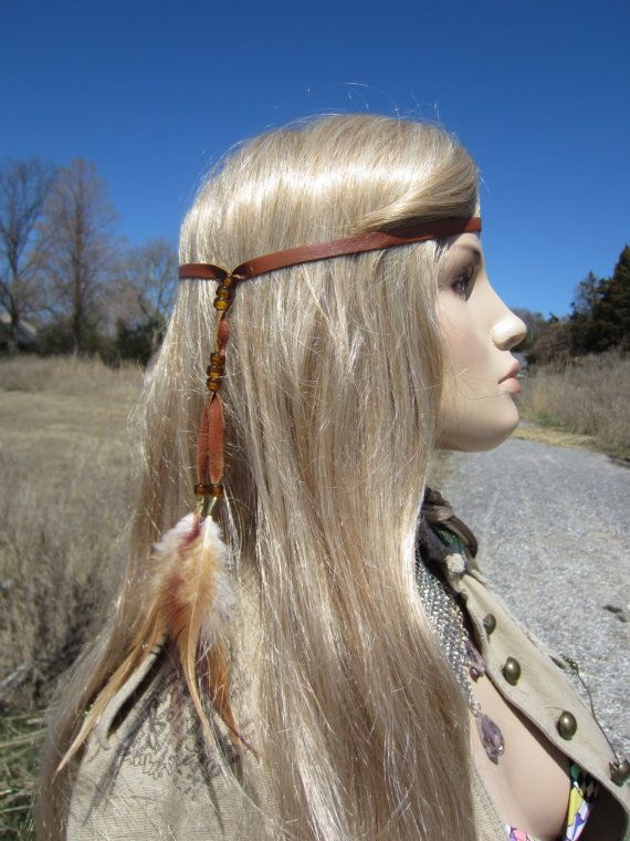 Feather Headband Hair Extension Brown Leather by Vacationhouse