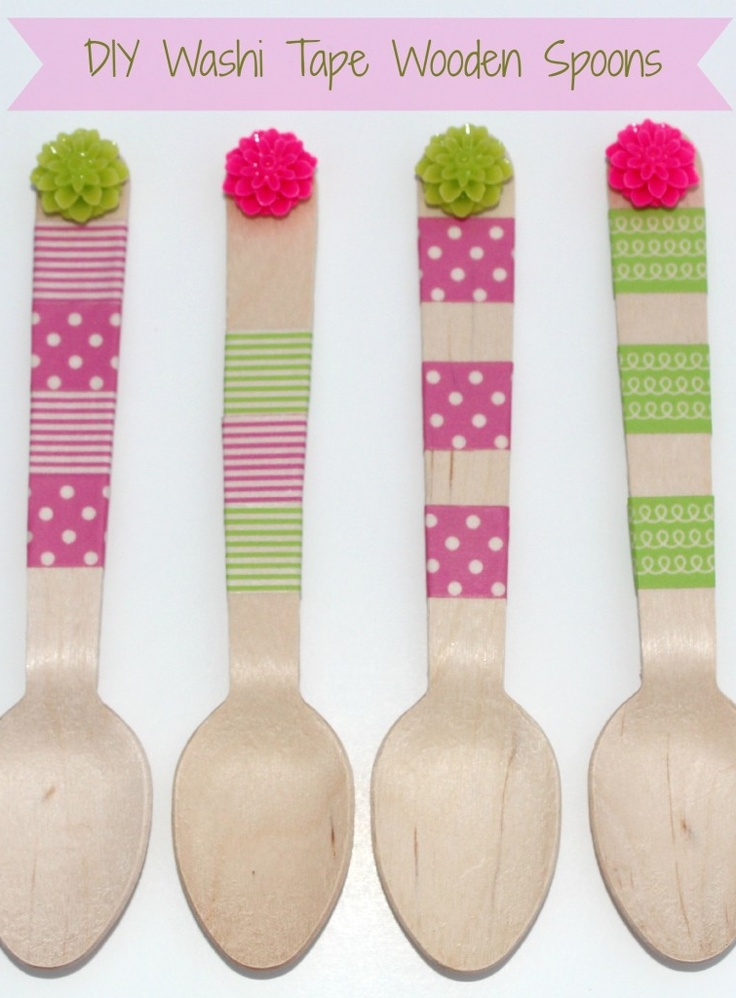 Diy washi tape wooden spoons diy projects pinterest for Cheap wooden spoons for crafts