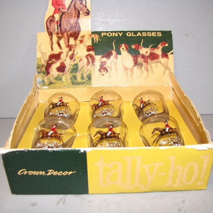 Set of Six Shot Glasses in Box, Talley-Ho, James Rush, Made By Craftsman