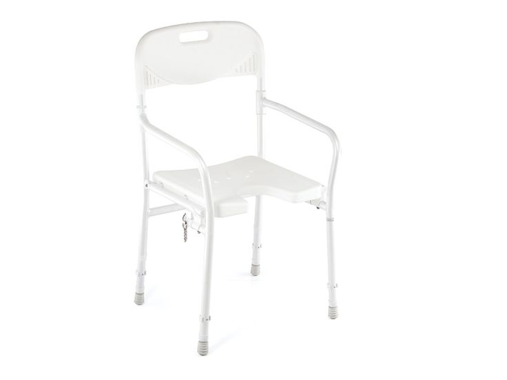 A folding shower chair can be placed inside the shower recess to enable people to sit while showering. This may be useful for those with poor balance or those who tire easy. Shower chairs with arm rests are available to help with getting on and off the chair more easily. Foldable design for storage and transport.