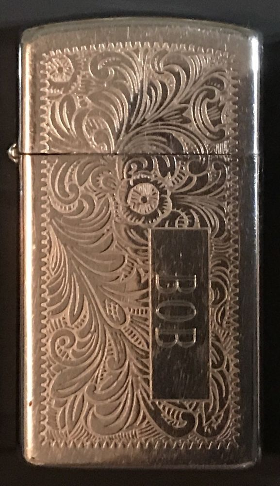 "BOB 1978 VENETIAN ZIPPO SLIM LIGHTER ENGRAVED ""BOB"" GIFT DEPENDABLE FLAME HDSA  
