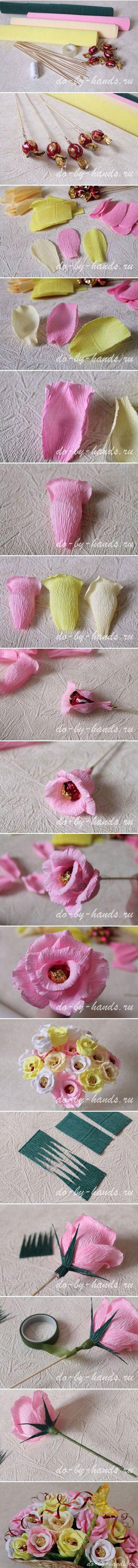 Handmade trandafiri pastelati -Tutorial