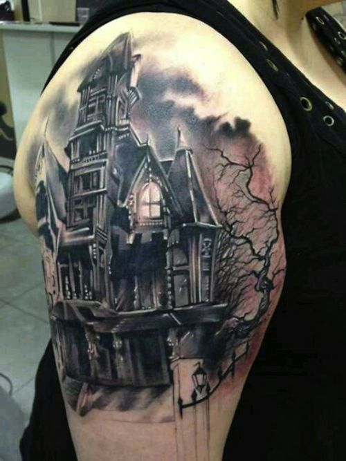 Haunted house tattoo by - artist unknown, because inked mag don't always credit the artist. #tattoo #black #grey