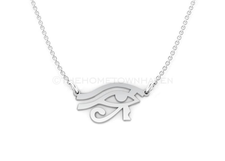 Egyptian Eye Necklace, Sterling Silver Eye, Eye of Horus necklace, Ancient Egyptian Jewelry, hyroglifics necklace