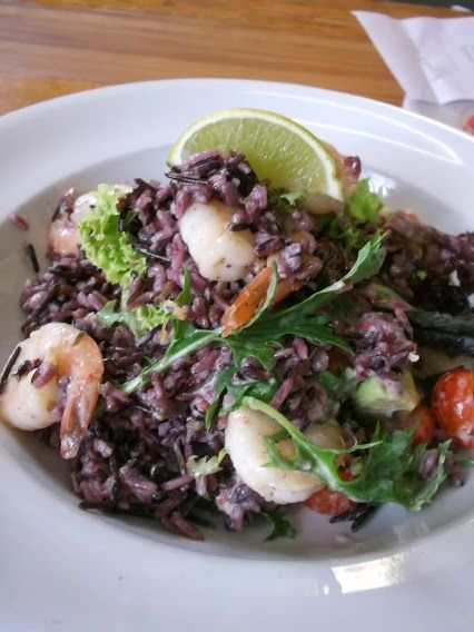 The Prawn, Wild Rice and Avocado Salad is on our current Lunch menu - it's very tasty and is wheat, gluten and dairy free