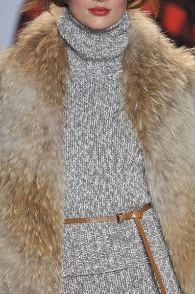 Michael Kors FW 2012 -- nice grey sweater mixed with blonde fur and great lip color