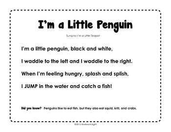 preschool penguin songs primarily penguins activities for integrating science and 195