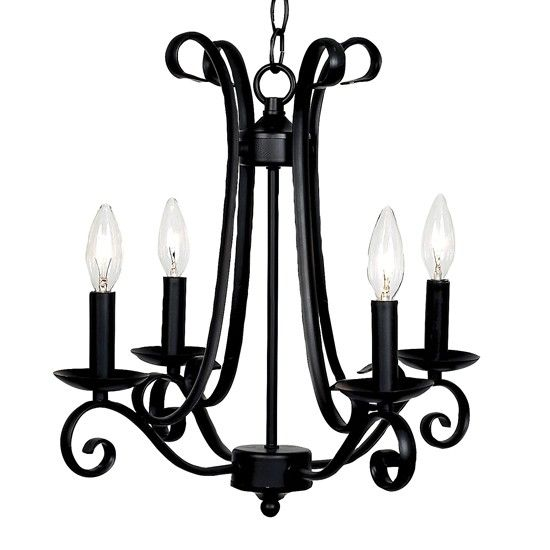 Harp Black Four Light Mini Chandelier Jubilee Collection Candles Without Shades