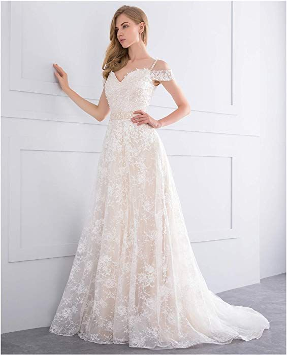 White Simple Wedding Dresses For Women Bride 2018 Off Shoulder