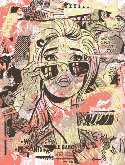 solvent transfer ground with a Lichtenstein style self-portrait in fine-liner and text over the top - yr 8-9