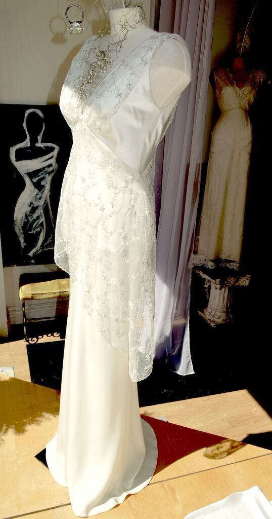 1930's inspiration, bias cut 4ply silk satin Ester Gown, with embroidered net asymmetrical detail....................  LOWON POPE – 117 JEFFERSON AVE, TORONTO, ON – 416-504-8150 – lowonpope@gmail.com
