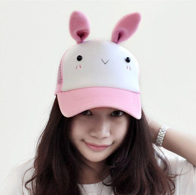 14970136f7c47 Pink rabbit baseball caps for girls cute reindeer baseball caps with ears