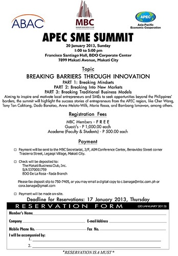 APEC SME SUMMIT: BREAKING BARRIERS THROUGH INNOVATION (SUMMIT INVITATION)    http://www.specialeducationphilippines.com/2013/01/11/apec-sme-summit-breaking-barriers-through-innovation-summit-invitation/