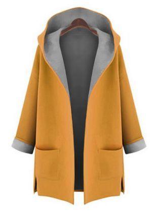 c78c3efc247 Long Sleeve Hooded Pockets Trench Coats - Floryday