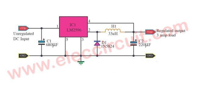 Lm2596 Circuit Voltage Regulator And Lm2673 Datasheet Eleccircuit Com Voltage Regulator Circuit Circuit Diagram