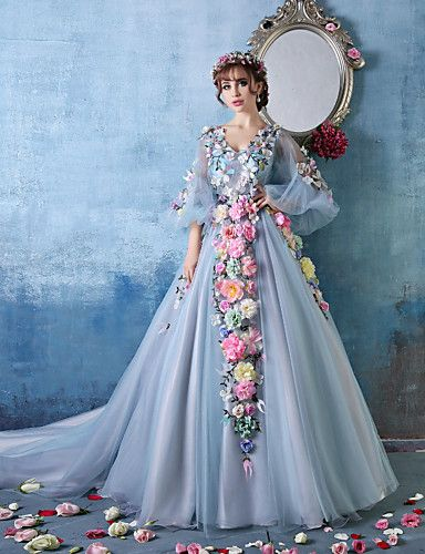 Formal Evening Dress - Sky Blue Petite Ball Gown V-neck Cathedral Train Tulle / Charmeuse 3862361 2016 – $299.99