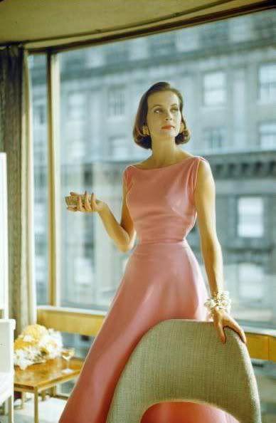 1954 pink sleeveless dress