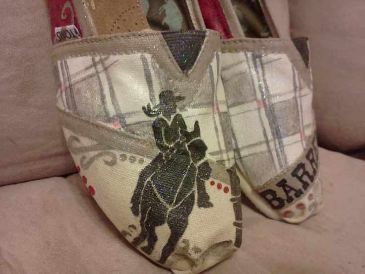 Price includes shoes. Barrel Racing hand painted TOMS. $100.00, via Etsy.