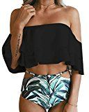 Muse Favor Women's Summer Off Shoulder Floral Print Flounce Two Piece Swimsuit High Waist Ruffled Bikini (XXL, Black)   Material : Polyester + Spandex Style:Off Shoulder Design,High Waist Style,Top bra with padded, no steel support. Please check size chart before ordering to ensure...