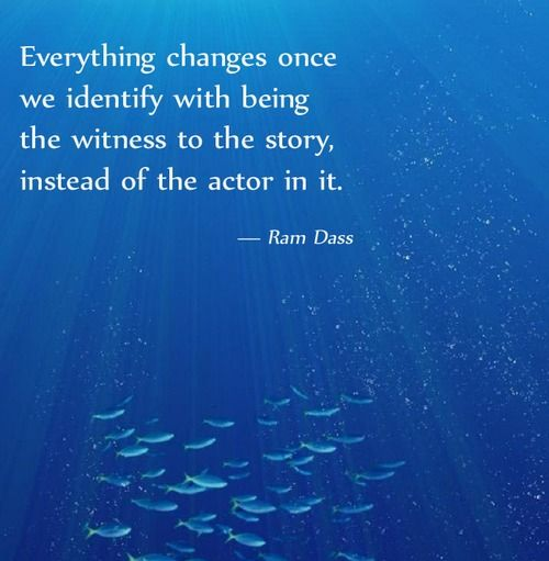 Everything changes once we identify with being the witness to the story, instead...   Ram Dass Picture Quotes   Quoteswave