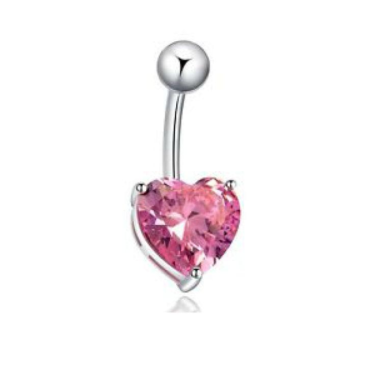 Banana para piercing de ombligo con Corazón de cristal engarzado rosa. Acero quirúrgico. Ideal piercing de ombligo. Miles de modelos para elegir!