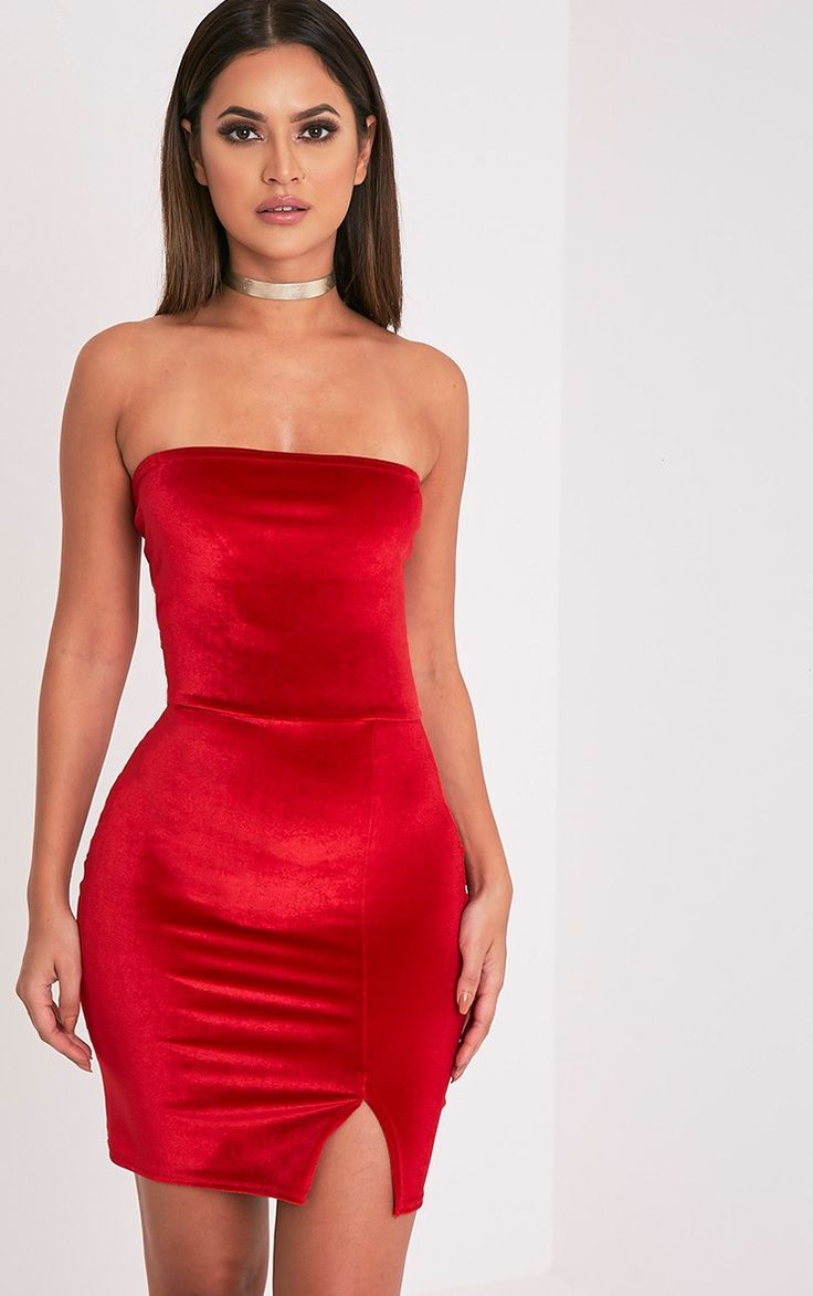 Red Velvet Split Detail Bandeau Bodycon Dress In a contemporary velvet  fabric this bodycon mini .