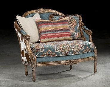 Our Charmayne Settee is the perfect statement piece for the western home! Visit our site to find out more.   www.brumbaughs.com   Brumbaugh's Fine Home Furnishings   Fort Worth, TX